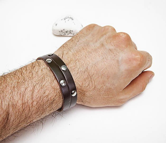 BL794-2 Коричневый кожаный браслет с заклепками фото 05