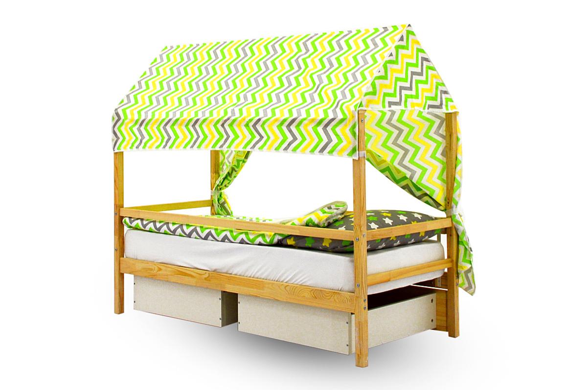 """Крыша текстильная для кровати-домика Svogen """"зигзаги, желтый, зеленый, фон белый"""""""
