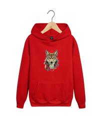 Толстовка красная 003 с капюшоном (худи, кенгуру) и принтом Волк (Wolf)