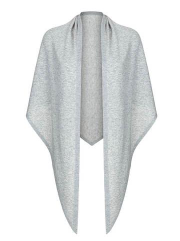 Женский платок серого цвета из шерсти и кашемира - фото 1