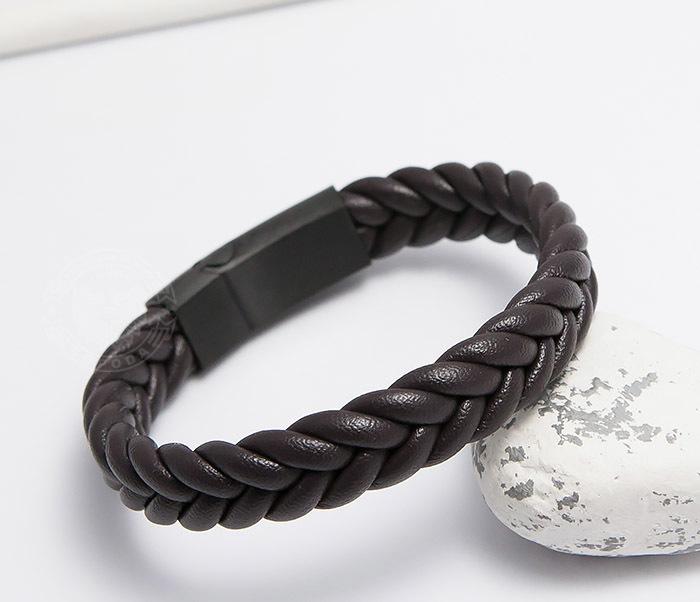 BM472-2 Мужской браслет из коричневых кожаных шнуров (20 см) фото 04