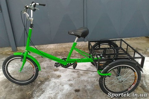 Триколісний вантажний велосипед 'Пекін' (зелений) з вантажною платформою і колесами 20