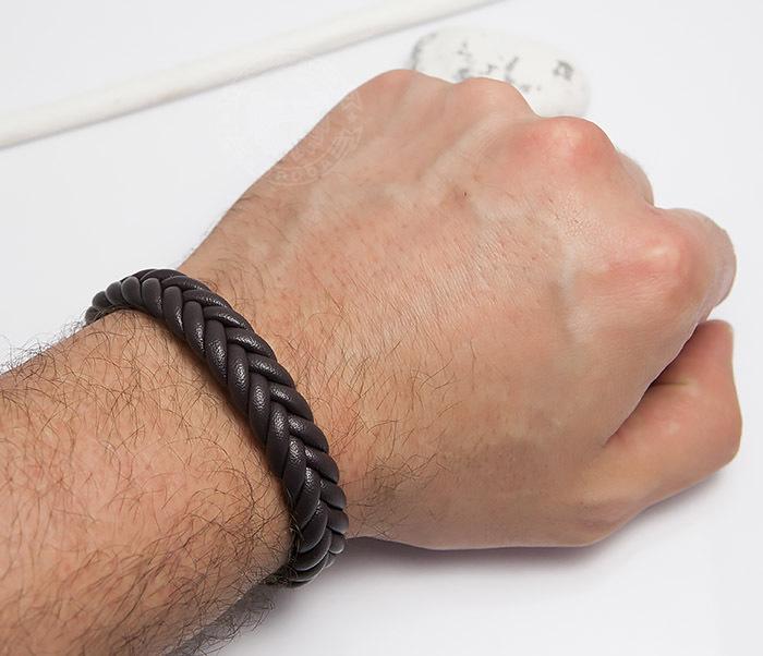 BM472-2 Мужской браслет из коричневых кожаных шнуров (20 см) фото 05