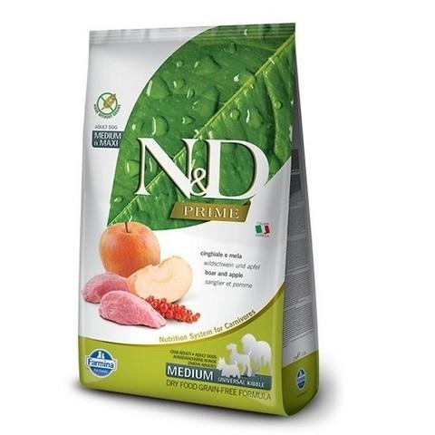 12 кг. FARMINA N&D Prime Сухой беззерновой корм для взрослых собак средних и крупных пород с мясом дикого кабана и яблоком Adult Medium&Maxi Boar&Apple