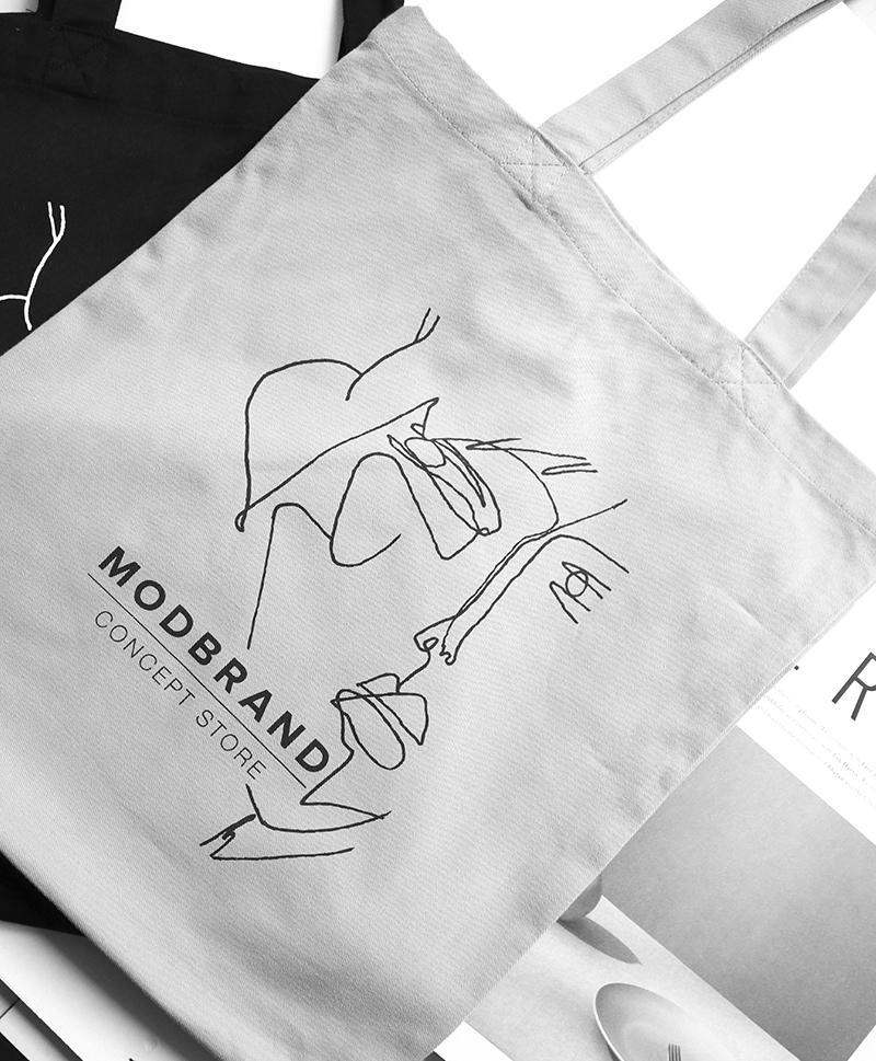 Холщовая сумка с логотипом серая