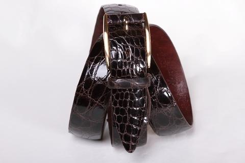 Классический мужской ремень из крокодила коричневого цвета 35-03
