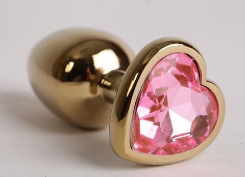 Анальная пробка золото 7,5 х 2,8 см с сердечком розовый страз размер-S 47193-MM