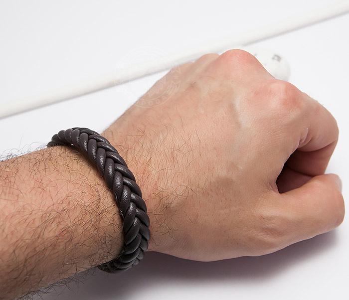 BM472-2 Мужской браслет из коричневых кожаных шнуров (20 см) фото 06