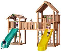 Детская площадка Jungle Palace + Jungle Cottage + жесткий мост