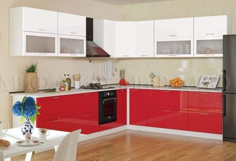 Кухня угловая Техно красная 3.2-2,6 м