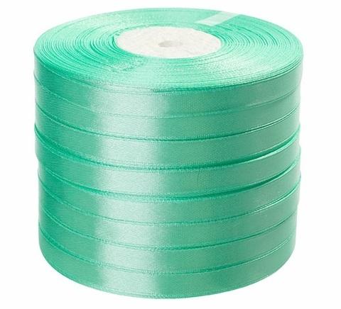 Лента атласная в уп. 8 шт. (размер: 10 мм х 50 ярд) Цвет: светло-зеленая-1