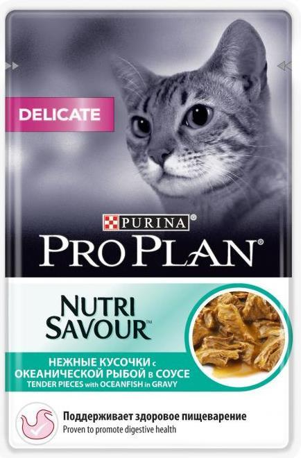 Влажные корма Пауч Purina Pro Plan DELICATE, для кошек с чувствительным пищеварением, с океанической рыбой дел_рыб.jpg