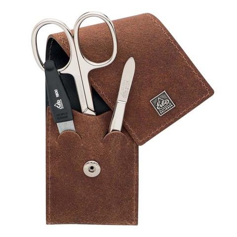 Маникюрный набор Erbe, 3 предмета, цвет коричневый, кожаный футляр