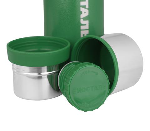 Термос Biostal Охота (1 литр), 2 чашки, зеленый