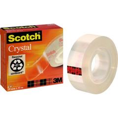 Скотч клейкая лента канцелярская Scotch Crystal прозрачная 19 мм х 33 м