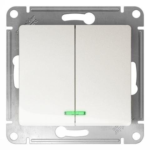 Выключатель двухклавишный с подсветкой, 10АХ. Цвет Перламутр. Schneider Electric Glossa. GSL000653