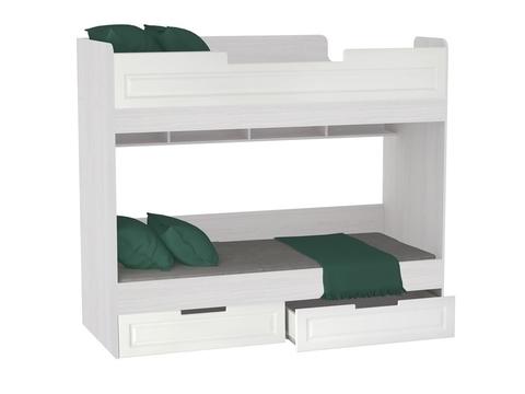 Кровать двухъярусная Прага КР-723 с ящиками 80х200 Браво Мебель ясень анкор, белый