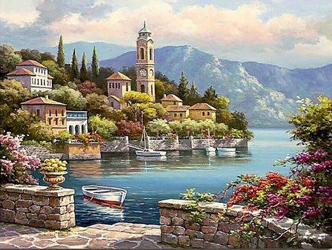 Картина раскраска по номерам 30x40 Вид с набережной