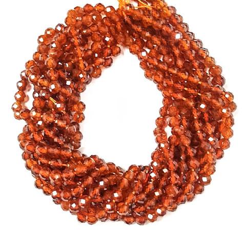 Бусины гранат оранж. (спессартин) AА граненый 4,2 мм цена за 45 бусин (~19 см)