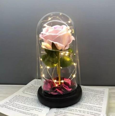 Роза в колбе с подсветкой (розовая)