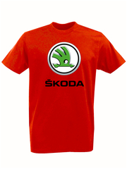 Футболка с принтом Шкода (Škoda) красная 002