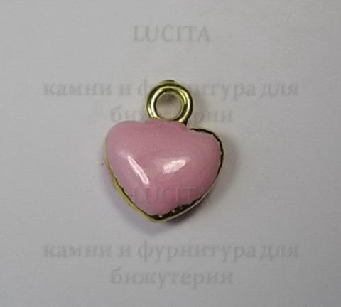"""Подвеска с эмалью """"Розовое сердечко"""" 11х10 мм (цвет - золото) ()"""