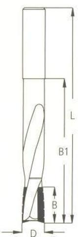 Фреза WPW  спиральная паз под замок Z2 D16 B25 L170 хвостовик 12