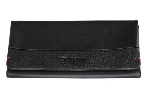 Кожаный американский чёрный кисет 17х8,5х2 см для табака Zippo 2006059