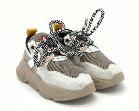 Кроссовки из комб.кожи на шнурках