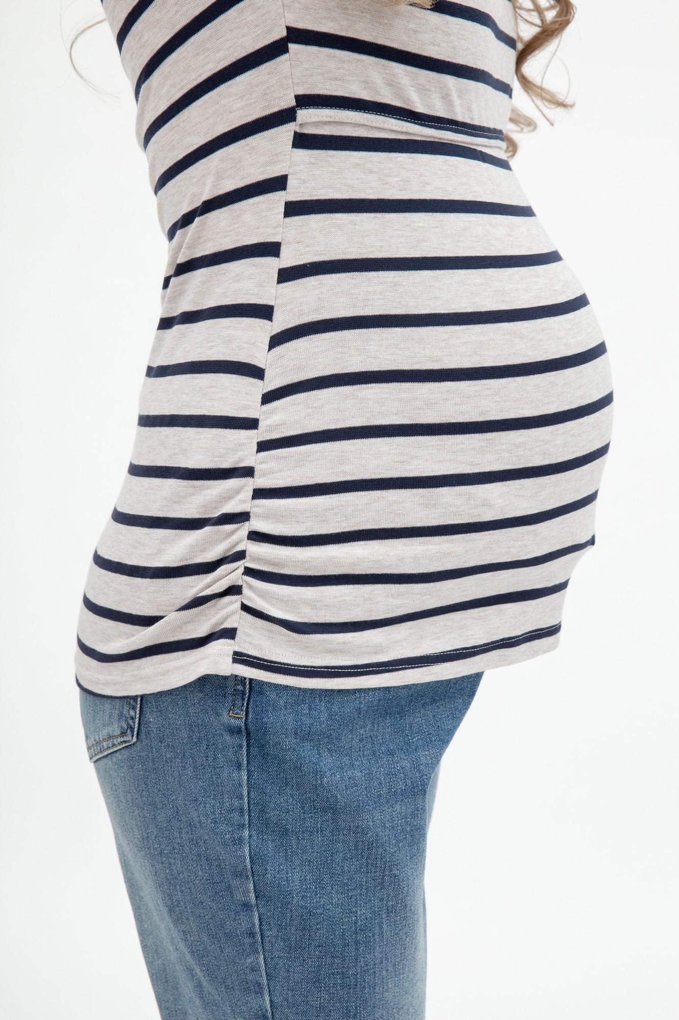 Лонгслив для беременных и кормящих 09045 синий/бежевый