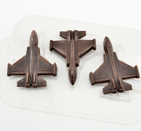 Пластиковая форма для шоколада ср. ИСТРЕБИТЕЛЬ 3в1 : 65х85мм