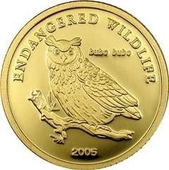 Золотая монета 2005 года выпуска Монголия 1000 тугриков, Филин, AU-999, 1,24 гр. диам. 13,92 мм, тир. 25000, пруф. 100% гарантия подлинности.