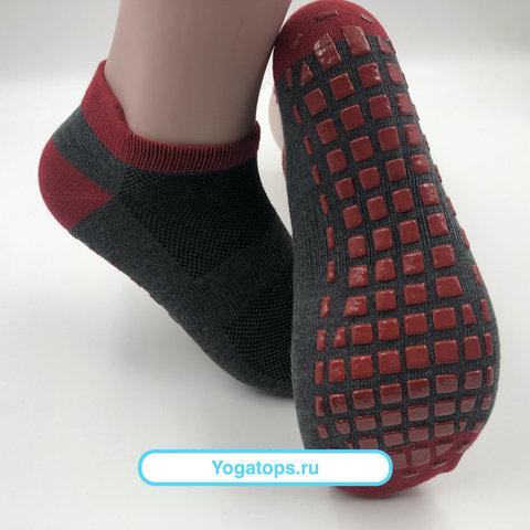 Нескользящие носки (р. 38-42, темно-серые) - Усиленные, для йоги, батута, фитнеса
