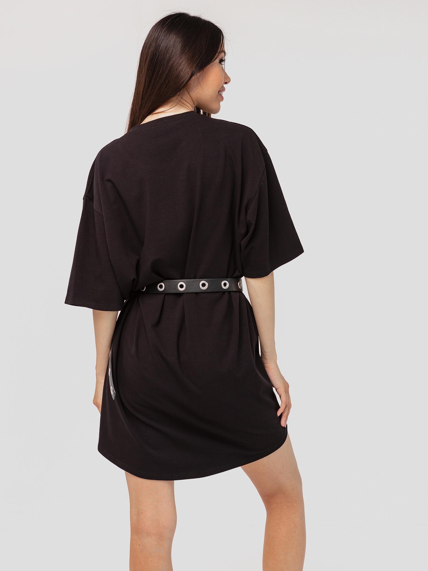Платье-футболка хлопковое черное YOS от украинского бренда Your Own Style