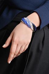 Бисерный браслет, 24 нити, черно-синий