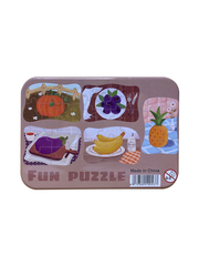 Развивающие пазлы в жестяной коробке Забавная головоломка FUN PUZZLE набор Фрукты Овощи 39 элементов, 5 пазлов