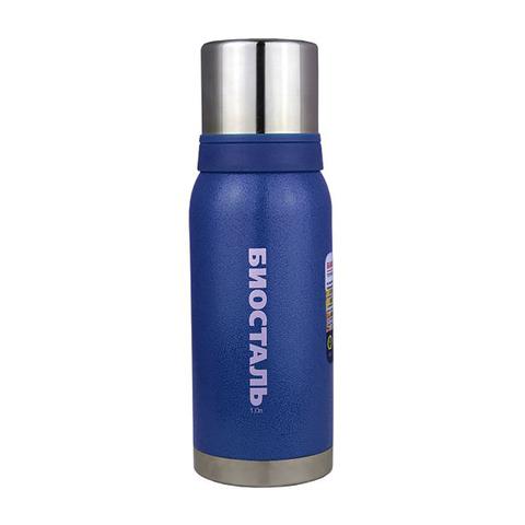 Термос Biostal Охота (1 литр), 2 чашки, синий