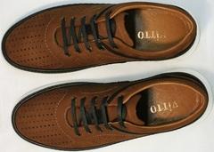 Перфорированные кроссовки туфли в спортивном стиле Vitto Men Shoes 1830 Brown White