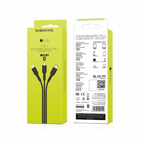 Кабель Borofone 3 в 1 USB - Lighting/Type-C/Micro USB, 1м, черный