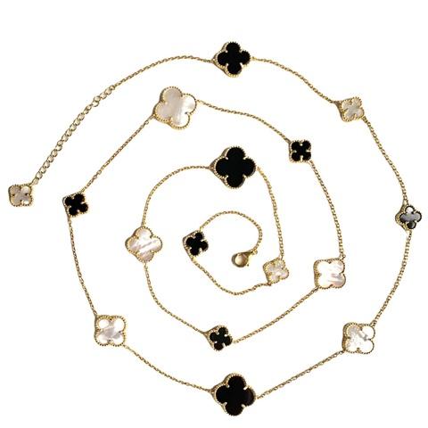 70427- Колье- нить Trendy  из серебра  в лимонной позолоте с перламутром и агатом 16 лепестков клевер