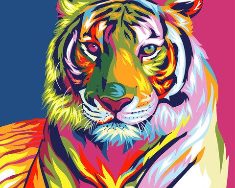 Картина раскраска по номерам 30x40 Разноцветный тигр
