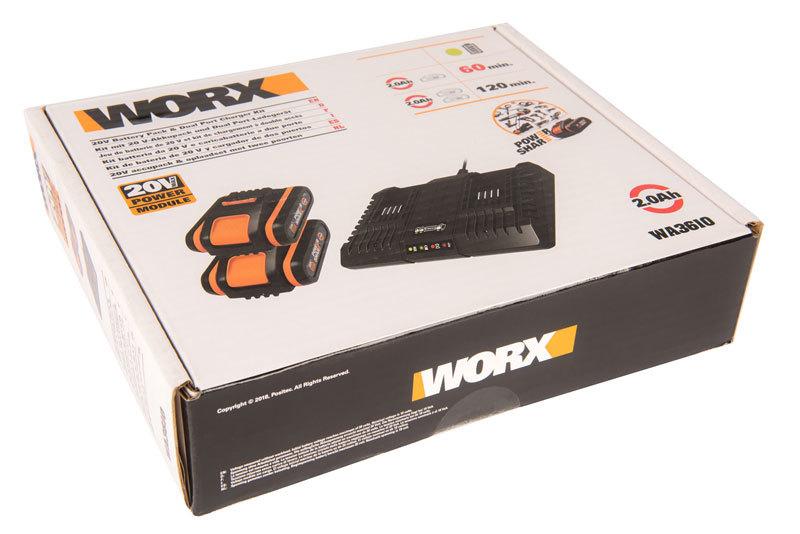Комплект: Двойное зарядное устройство WORX WA3869 + 2 АКБ 2.0 А/ч