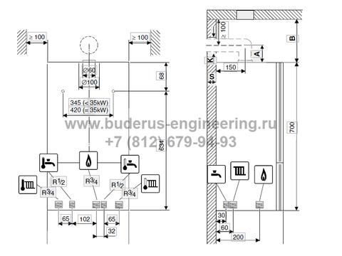 Схема котла Buderus Logamax U072
