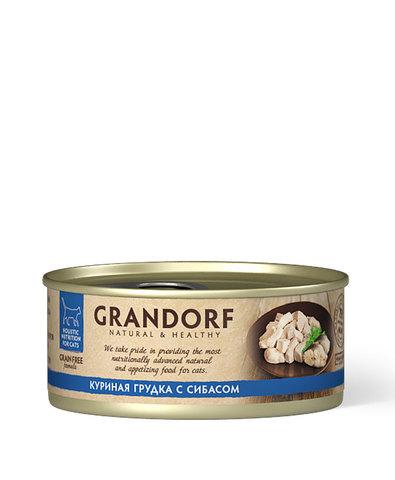 Grandorf консервы для кошек (куриная грудка с сибасом) 70г