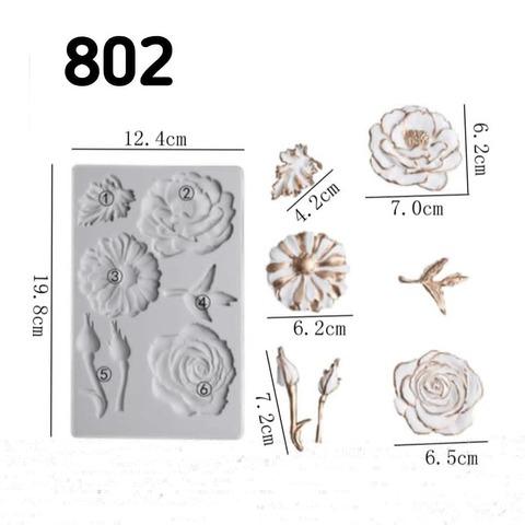 0802 Молд силиконовый. Цветы, бутоны.