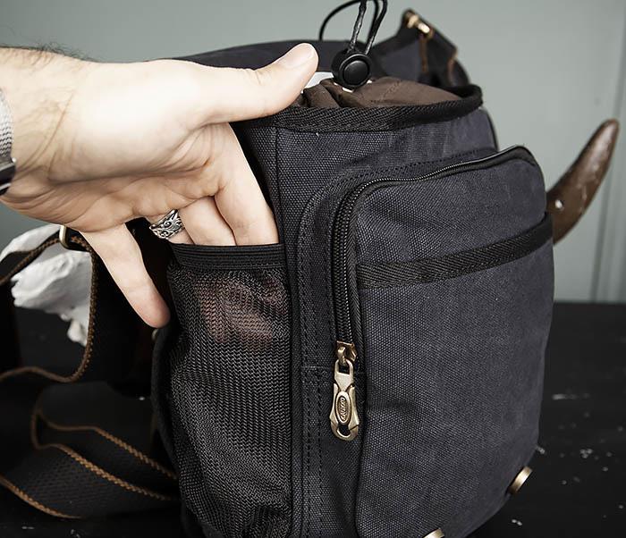 BAG307-1 Мужская сумка черного цвета из текстиля отличного качества фото 08