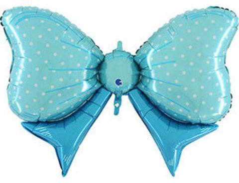 Фольгированный шар Бант голубой