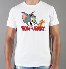 Футболка с принтом мультфильма Tom and Jerry (Том и Джерри), белая 006