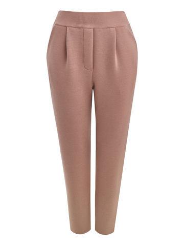 Женские брюки бежевого цвета из 100% шерсти - фото 1