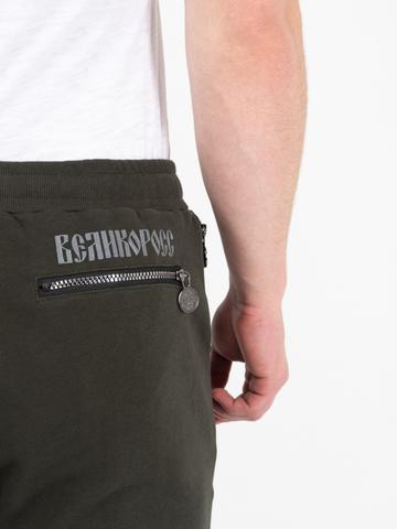 Спортивные штаны  цвета хаки без лампасов, без манжета